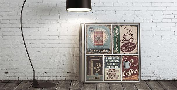 Plakat kawa styl retro