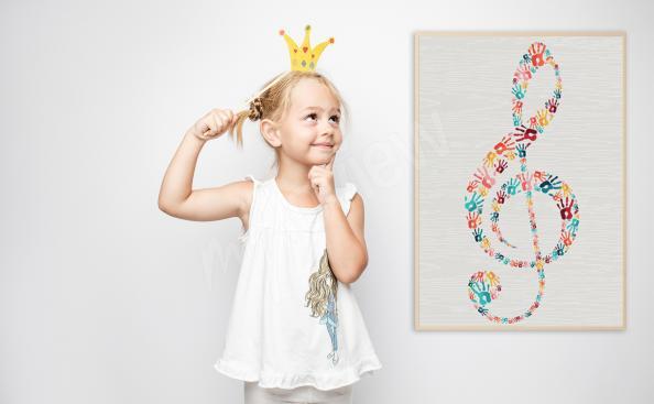 Plakat klucz wiolinowy do pokoju dziecka
