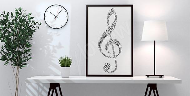 Plakat klucz wiolinowy do salonu