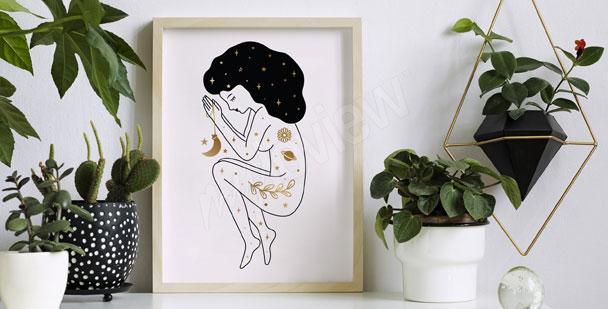 Plakat kobieta i gwiazdy