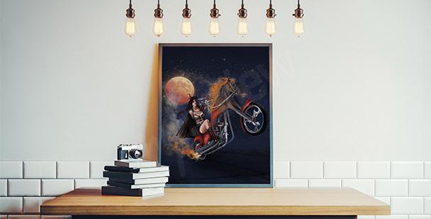 Plakat kobieta na motorze