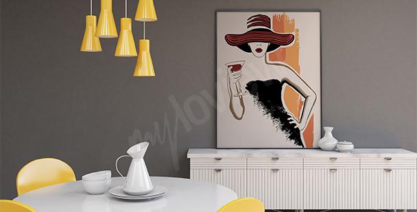 Plakat kobieta trzymająca kieliszek