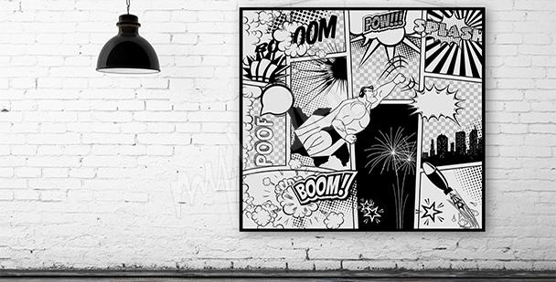 Plakat komiks czarno-biały