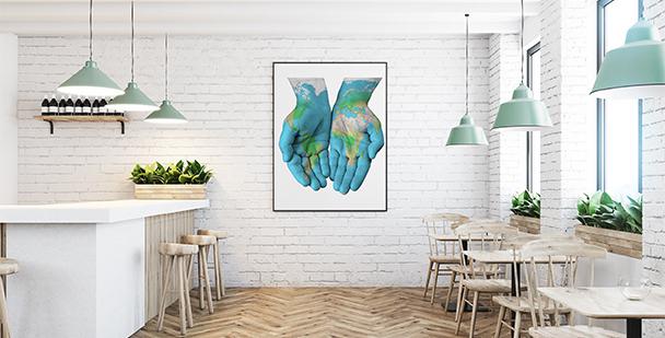 Plakat kontynenty na dłoniach