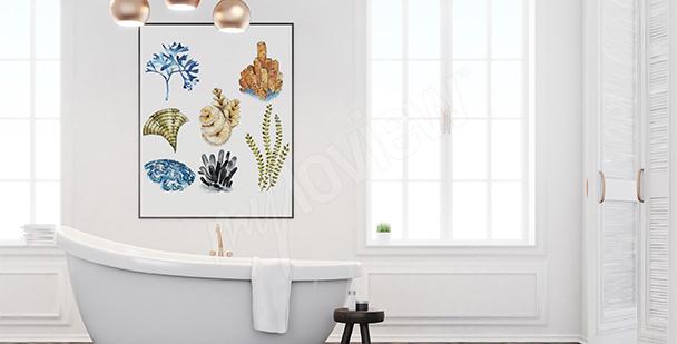 Plakat koralowce do łazienki