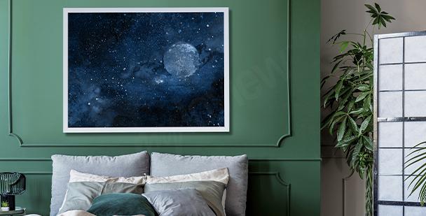 Plakat kosmos do sypialni