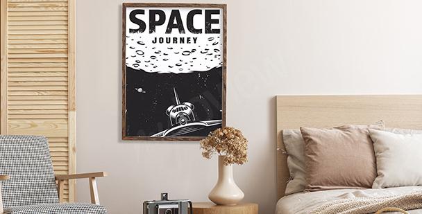 Plakat kosmos w stylu retro