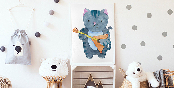 Plakat kot muzyk do pokoju dziecka