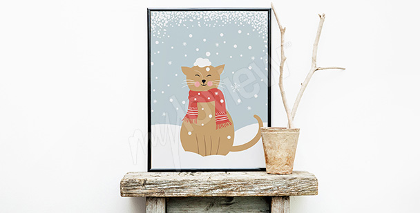 Plakat kot w śniegu
