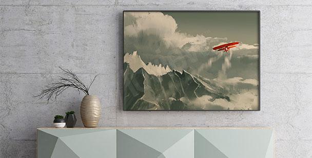 Plakat krajobraz z samolotem