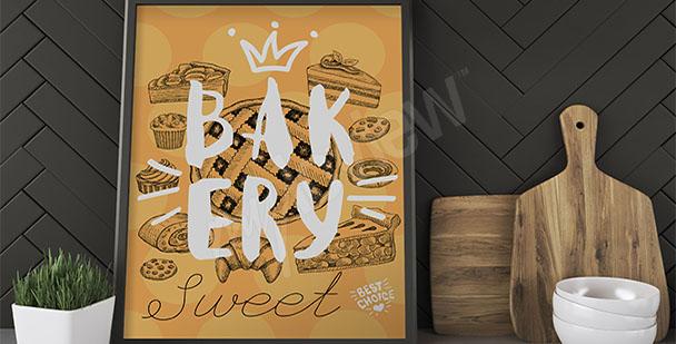 Plakat kuchenny ciasta i ciastka