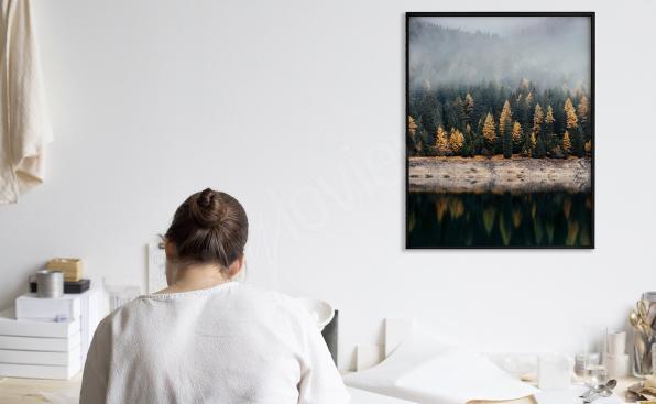 Plakat las nad jeziorem