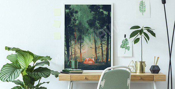 Plakat jesienny las