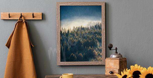 Plakat las w górach