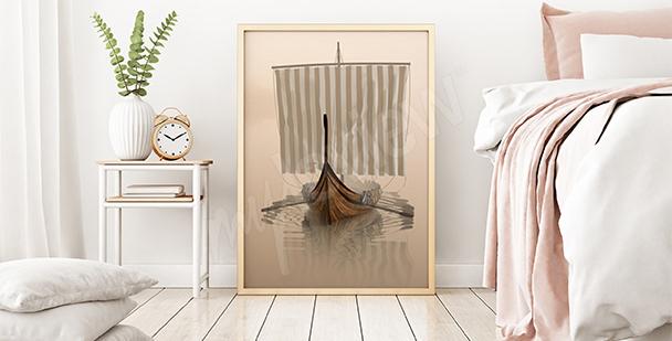 Plakat łódź Wikingów