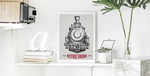 Plakat lokomotywa retro