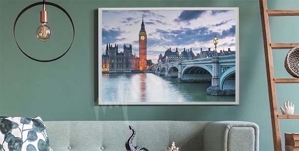 Plakat Londyn o zachodzie słońca