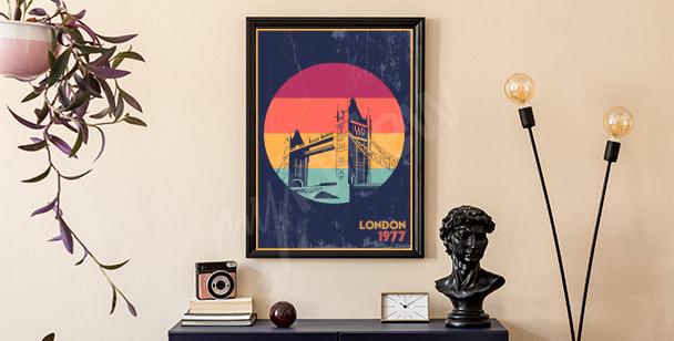Plakat Londyn w stylu retro