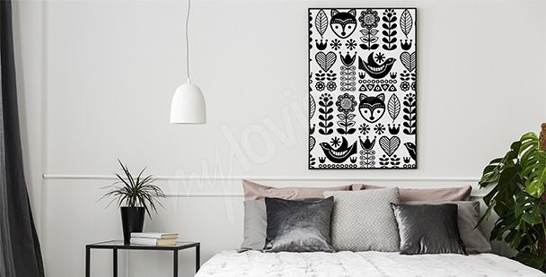 Plakat ludowy styl skandynawski