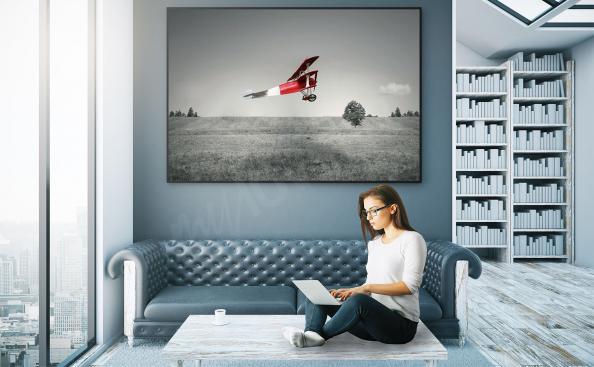 Plakat czerwony samolot