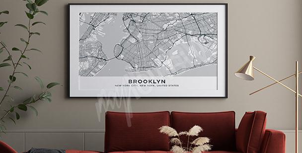 Plakat mapa Brooklynu