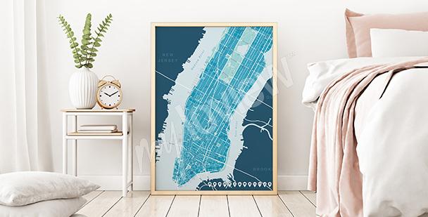 Plakat mapa górnego Manhattanu