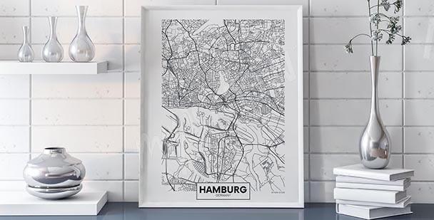 Plakat mapa Hamburga