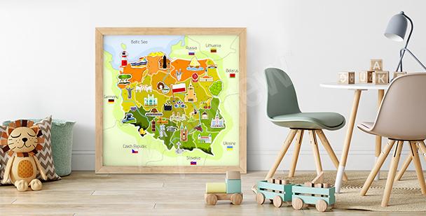 Plakat mapa Polski dla dzieci