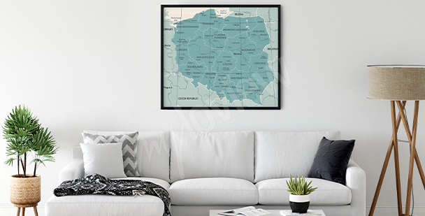 Plakat mapa Polski do salonu