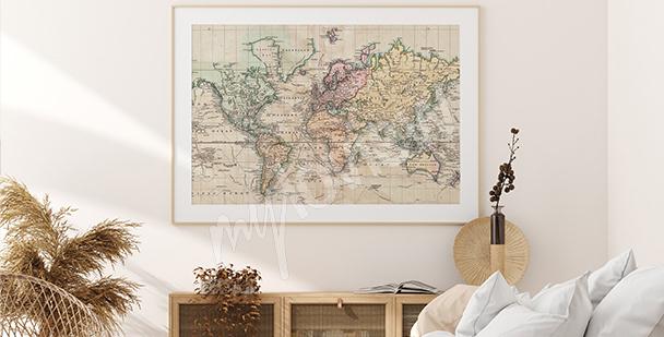 Plakat mapa w stylu retro
