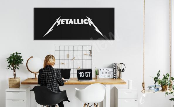 Plakat metallica biało-czarny