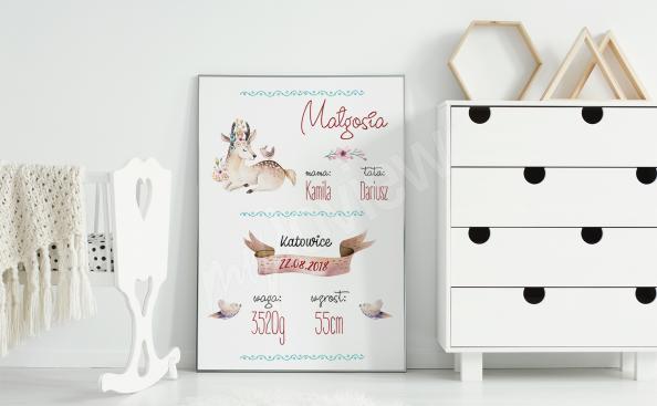 Plakat metryczka ze zwierzętami