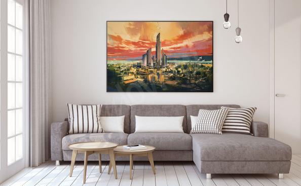 Plakat miasto fantasy