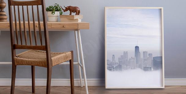 Plakat miasto we mgle