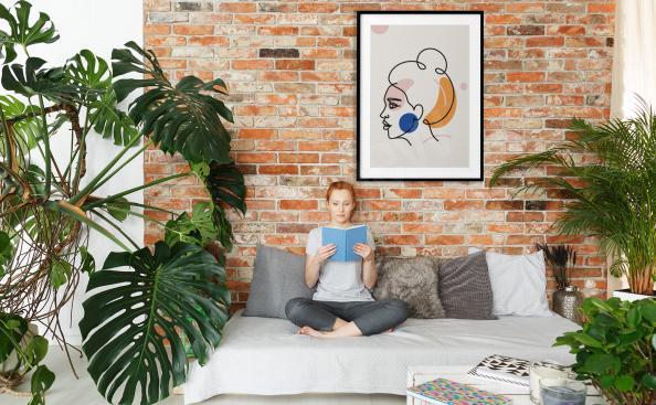Plakat minimalizm do pokoju dziennego