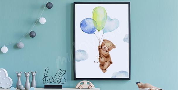 Plakat miś i balony