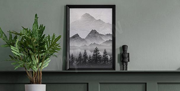 Plakat monochromatyczny krajobraz