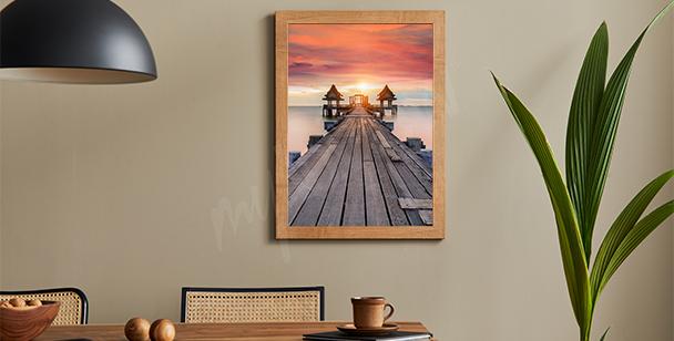 Plakat most o zachodzie słońca