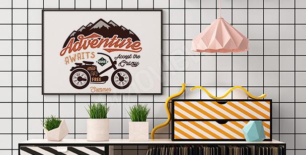 Plakat motocykl retro do salonu
