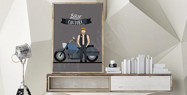 Plakat motocyklista w stylu retro