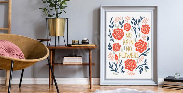 Plakat motywacyjny i kwiaty