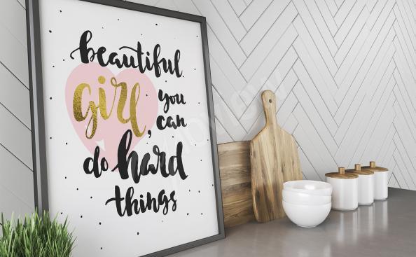 Plakat motywujący cytat dla dziewczyn