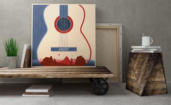 Plakat muzyczny z gitarą