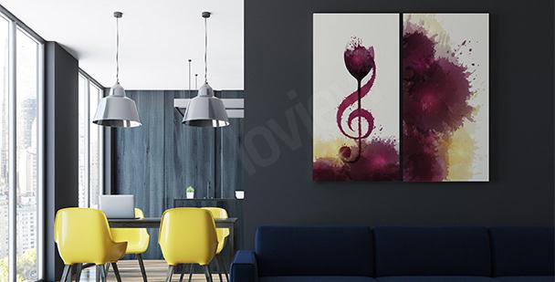 Plakat muzyka i wino