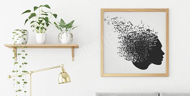 Plakat nuty i kobiecy portret
