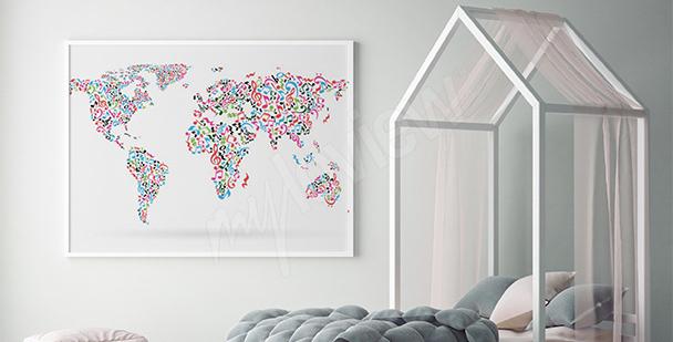 Plakat nuty na mapie