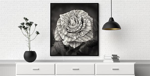 Plakat nuty na płatkach róży