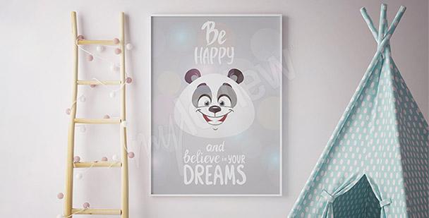 Plakat panda dla dzieci