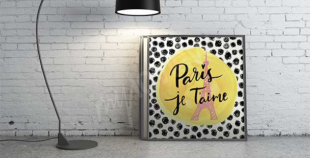 Plakat Paryż z napisami