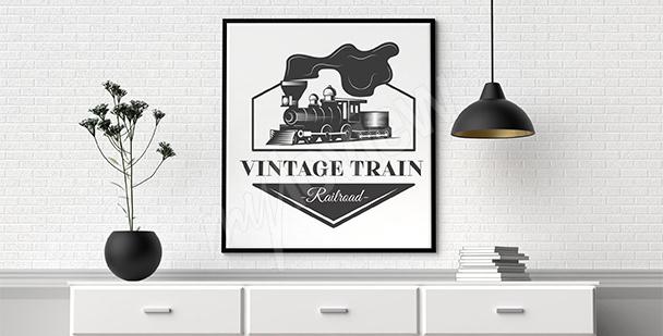 Plakat pociąg czarno-biały